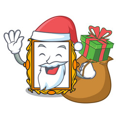 Santa with gift picture frame mascot cartoon vector