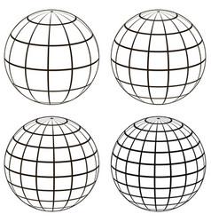 set 3d ball globe model earth sphere vector image