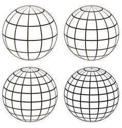 Set 3d ball globe model of the earth sphere vector