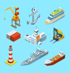 Ships boats and seaport terminal cargo vector
