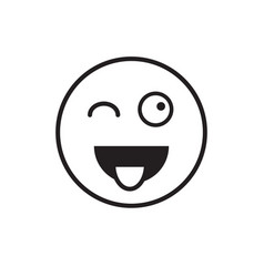 Smiling cartoon face show tongue positive people vector