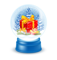 Snowglobe with gift box vector