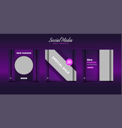 Social media post template in modern style vector