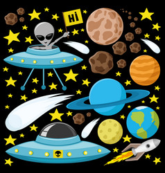 Space set with planets and aliens vector