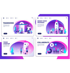 Startup team work collaborate landing vector