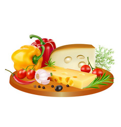 still life of cheese tomatoes bell peppers and vector image