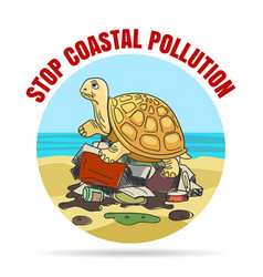 stop coastial pollution ecology emblem vector image