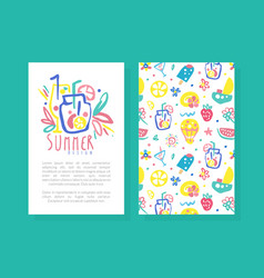 summer card template with seasonal symbols vector image