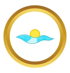 Sun and sea waves icon vector