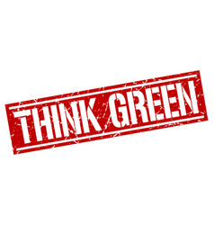 Think green square grunge stamp vector