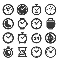 time and clocks icons set on white background vector image