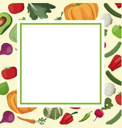 vegetables fresh ingredients card image vector image
