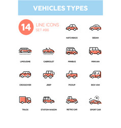 vehicle types - line design icons set vector image