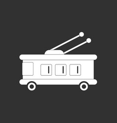 White icon on black background trolleybus vector