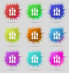 Winners Icon sign A set of nine original needle vector image