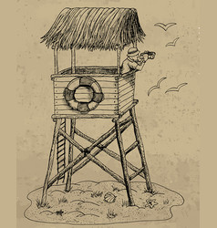 With lifeguard tower on a beach vector