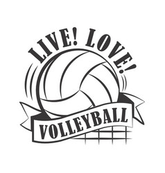 yellow volleyball emblem vector image vector image