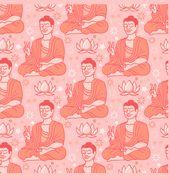 yoga seamless pattern with buddha and lotus vector image