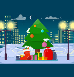 decorated christmas tree with presents outdoors vector image