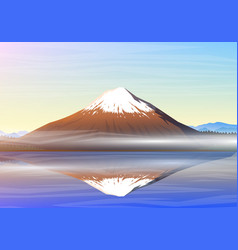 mountain fuji morning panoramic view with vector image