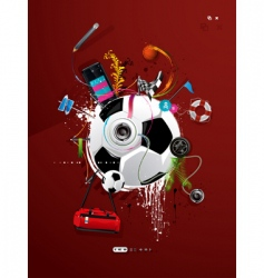 soccer ball graffiti vector image vector image