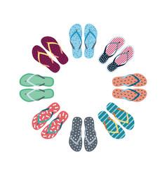 summer flip flops set vector image