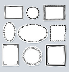 doodle frames set - frames with hand drawn vector image vector image