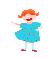 funny happy little girl red head character vector image vector image