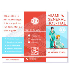 hospital trifold brochure medical clinic eps10 vector image vector image