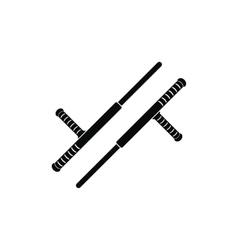 Tonfa weapon black simple icon vector image vector image