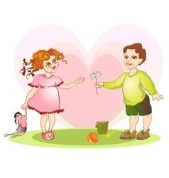 boy give girl flower vector image vector image