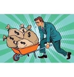 Businessman wheel heavy garden cart with money vector