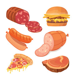 fast food meat set food icons vector image