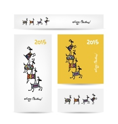 Funny goats Christmas cards design vector image