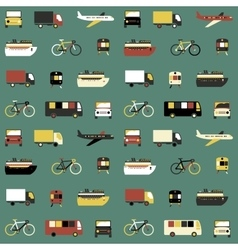 Seamless pattern with transport icons vector image vector image