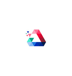 triangle colored data technology logo vector image