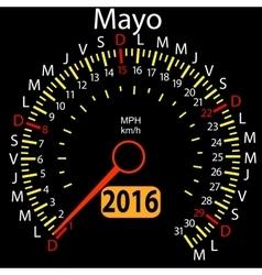 2016 year calendar speedometer car in Spanish May vector image vector image
