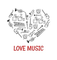 Classic musical instruments icons shaped as heart vector image