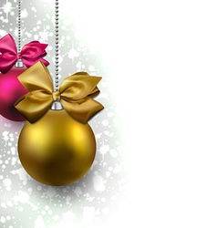 Glitter christmas background with balls vector image vector image