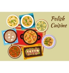 Polish cuisine icon with rich meat dishes vector image