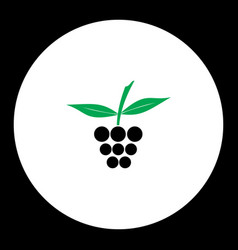 Raspberry fruit simple black and green icon eps10 vector