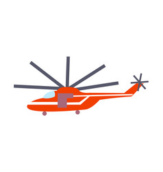 red helicopter isolated on white poster vector image