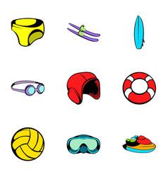 swim icons set cartoon style vector image vector image