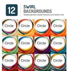Swirl spiral shape wave background set vector image