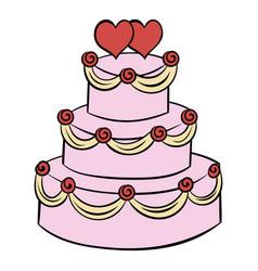 Wedding cake icon cartoon vector