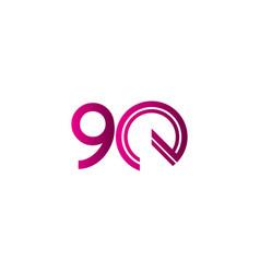 90 years anniversary celebration purple line vector
