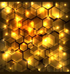 abstract golden shine hexagon geometric on dark vector image
