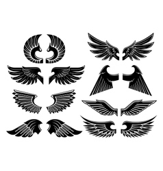 Angel wings black heraldic symbols vector image