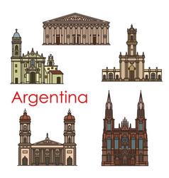 Argentina landmarks architecture line icons vector
