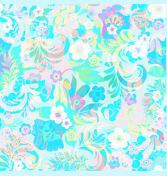 Background with flowers swirls and leaves vector